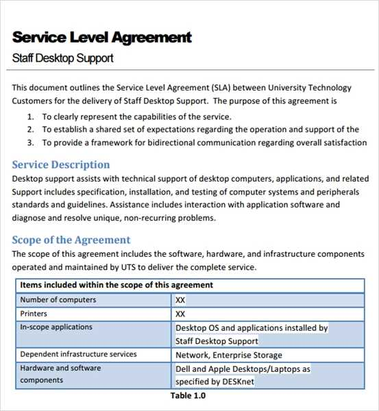 Service level agreement thesis